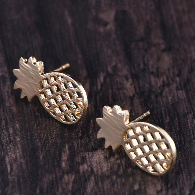 H8 Cute Pineapple Earrings For Women Girls Statement Gold Silver Color Animal Cat Elephant Stud Earring Exquisite Gift Wholesale