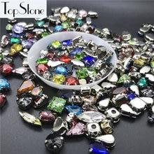 5c27e0c6a475 100 piezas colores de la mezcla formas coser en piedras de costura cristal  con ajuste de la garra del metal para la joyería