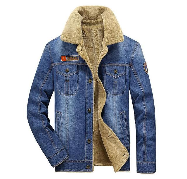 Mens Rodeo Lined Denim Jackets New men jacket and coats Fashion mens jeans jacket Thicken warm winter outwear male  M~6XL