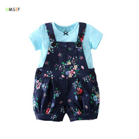 Newly 2018 Kids Baby Girl Summer Dress Design Flower Belts Shorts Overalls Shirt Cotton Blue Baby