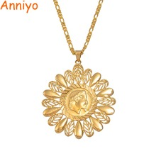 Anniyo charme napoléon pendentif colliers pour femmes filles couleur or  fleur pièce bijoux cadeaux 09bb7968151