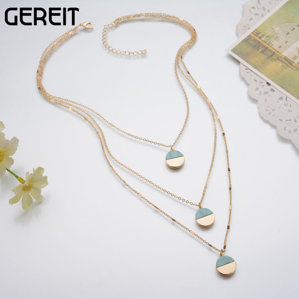 Three Multi Layers Gold Chain Necklace Faux Marble Stone Geometric Turquoise Necklaces & Pendants For Women Collier JN16161 Ювелирное изделие