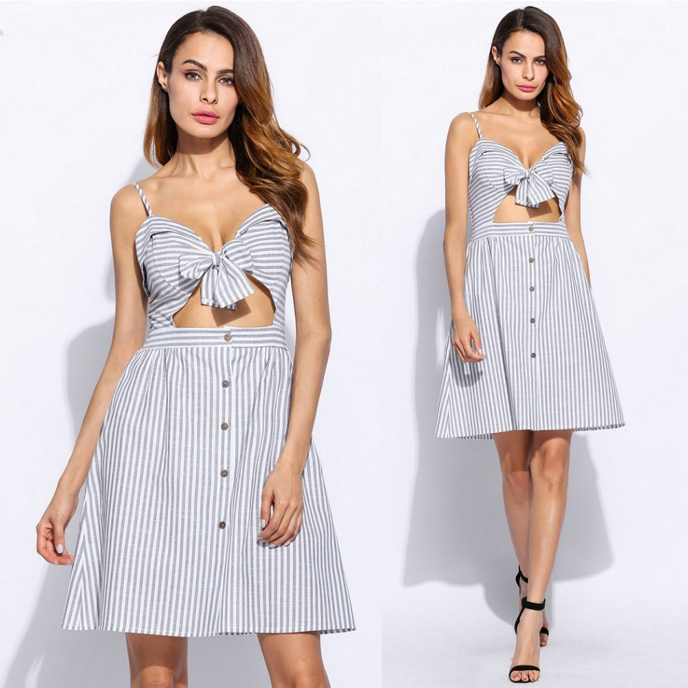 2017 New Arrival Sleelveless Bow Decoration Women Sexy Spaghetti Strap Stripes Beach Casual Cut Out Crop