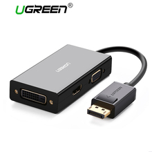 Ugreen 3 in 1 Displayport DP HDMI VGA DVI 어댑터 4K 남성 여성 디스플레이 포트 HP PC 노트북 프로젝터 용 케이블 변환기