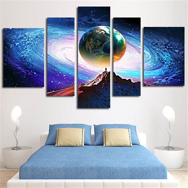 2016 Sonderangebot 5 Flugzeug Planeten Wandkunst Leinwand Bild Modulare  Malerei Fur Wohnzimmer Und Prints Home Decoration