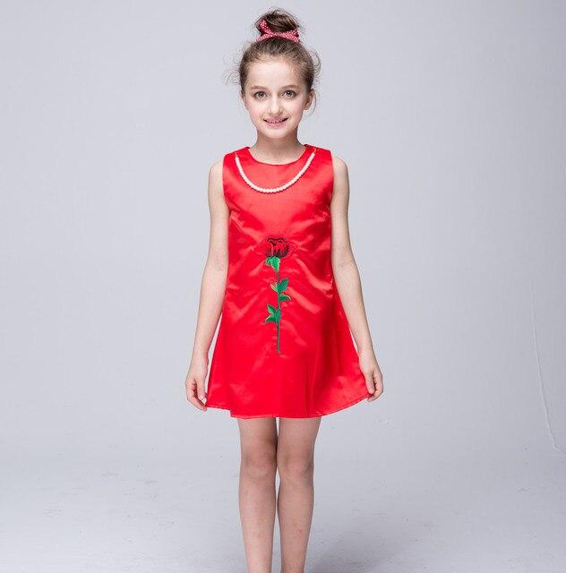 d5e565a7aefe4 2016 nouvelle fille princesse robe rouge rose brodé pour 4 5 6 7 8 ...