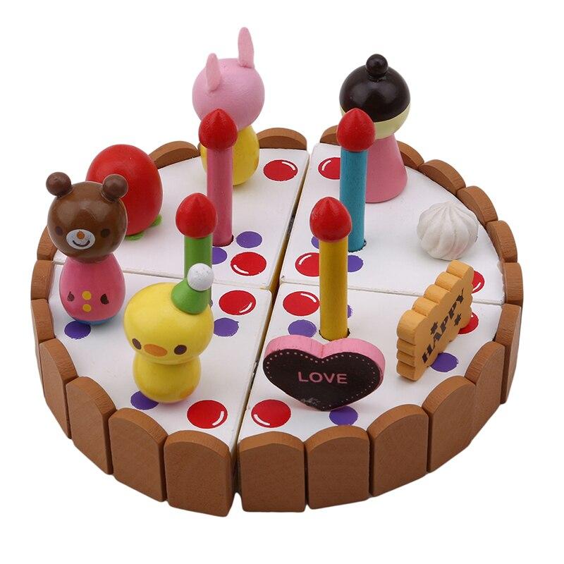 Mini Kitchen Toy: Kids Mini Kitchen Toys Wooden Birthday Cutting Cake Toy