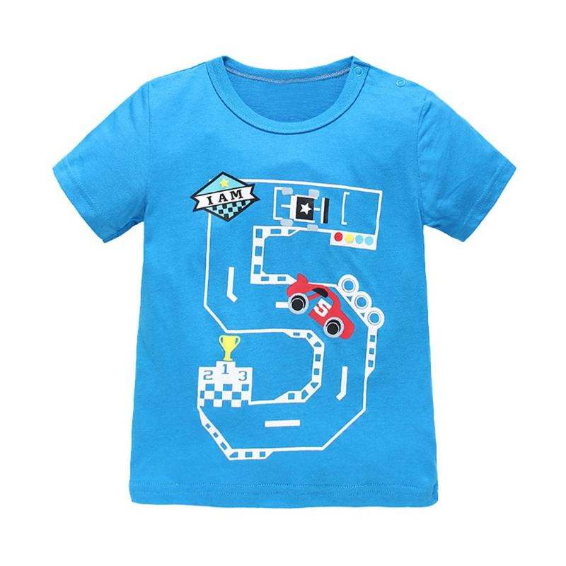 Kids Boys Casual T-shirt Summer Short Sleeve O-Neck Cartoon Number Car Dinosaur Print T-shirt Children Boys Sports Tops
