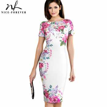 Nice-forever Vintage Flower Print Wear to Work White vestidos Business Bodycon Sheath Women Office Elegant Pencil Dress B455 - DISCOUNT ITEM  40% OFF All Category