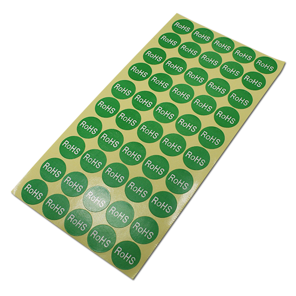 Roundness RoHS Character Printed Label Stickers For Environment Protect Electronics Packaging Self Adhesive Paper Sticker Sheet