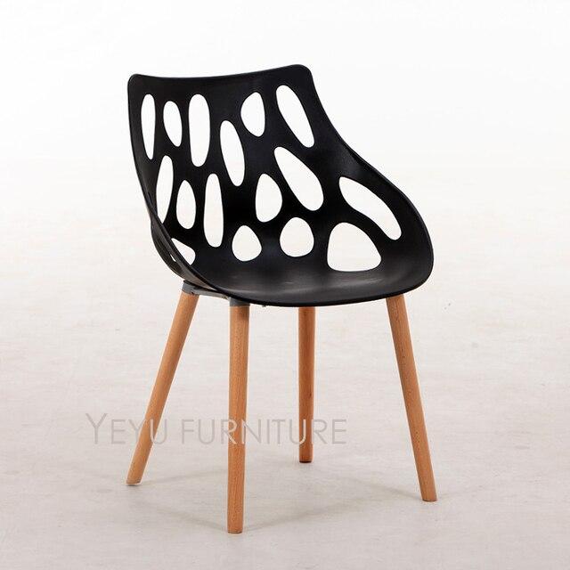 Diseño moderno de plástico y madera sólida pierna Silla de comedor ...