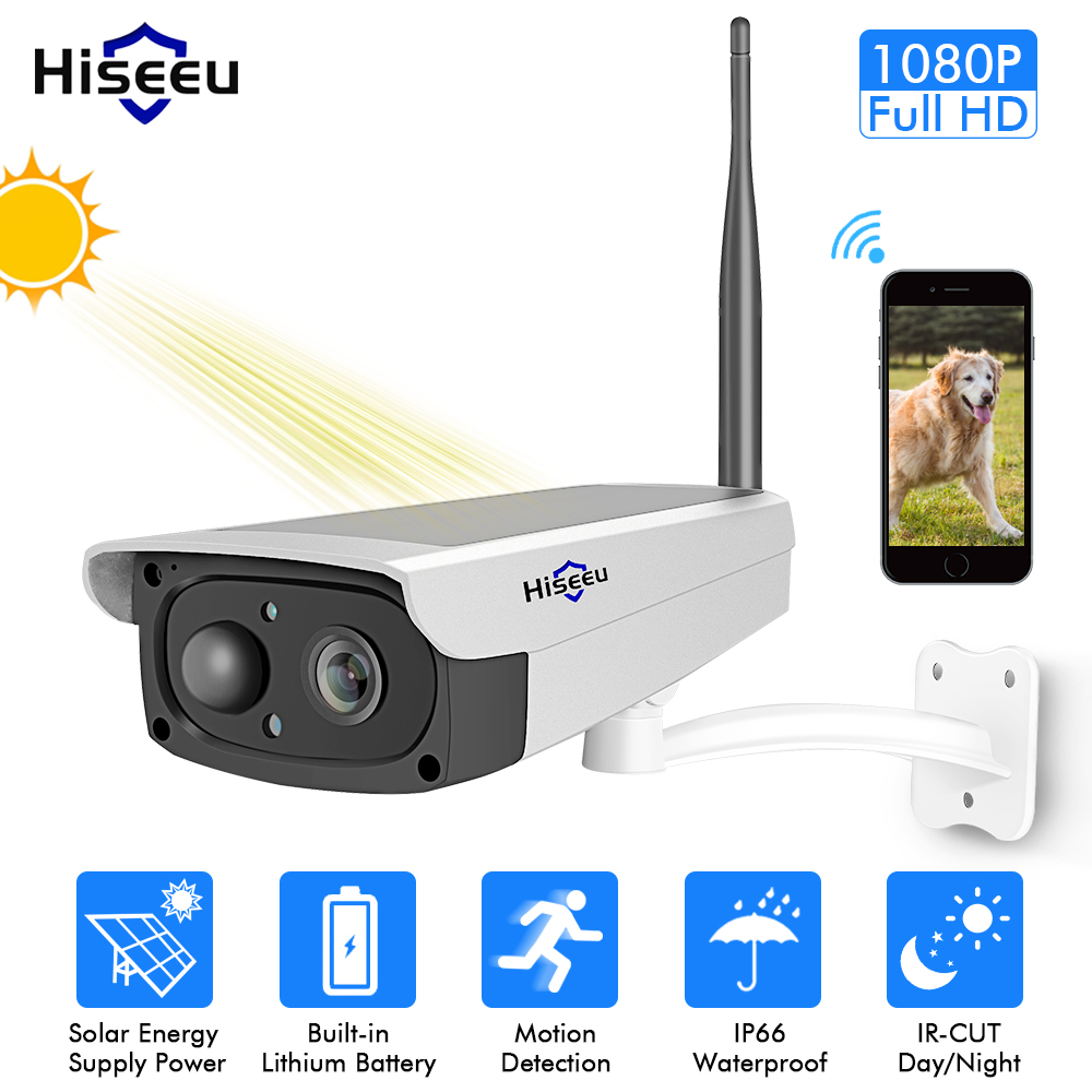 Hiseeu video surveillance camera Solar panel Rechargeable Battery 1080P Full HD Outdoor Indoor Security WiFi IP Camera Wide View spray de defensa personal