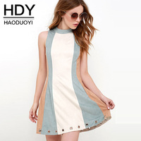 HDY Summer Dress Sleeveless 2018 Spring Summer Dress Women Party Dress Patchwork Ladies Party Dress Plus