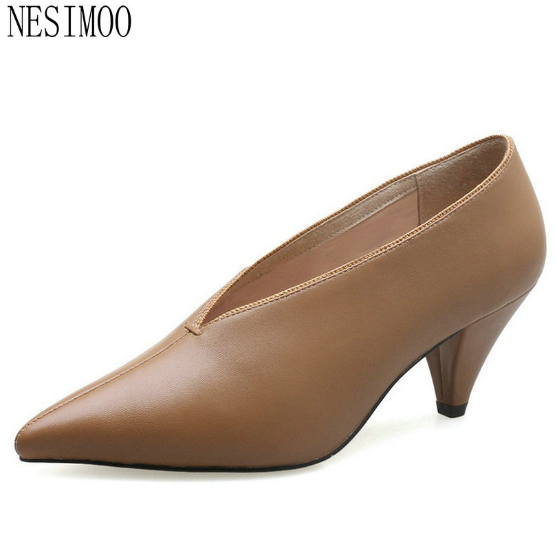 NESIMOO 2018 Women Pumps Pointed Toe Cow Leather +pu Fashion Thin High Heel Slip on Platform Casual Wedding Pumps Size 34-39