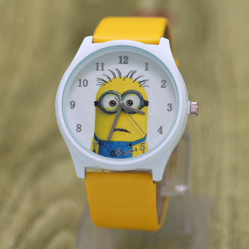 dropshipping 3D Eye Despicable Me minion Cartoon watch Cute Children clock Baby kid Quartz Sport Wrist Watches for Girls Boys despicable me unicorn minion stuffed