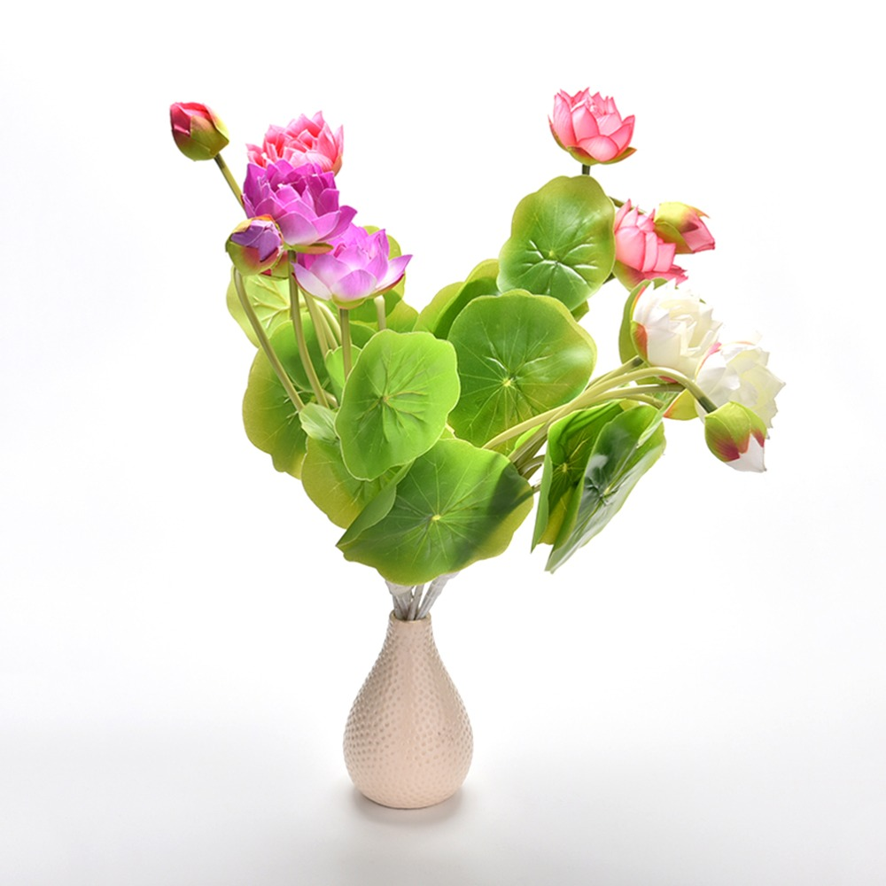 Color Green Leaf Plant Mini Artificial Lotus Flower Desktop Vase