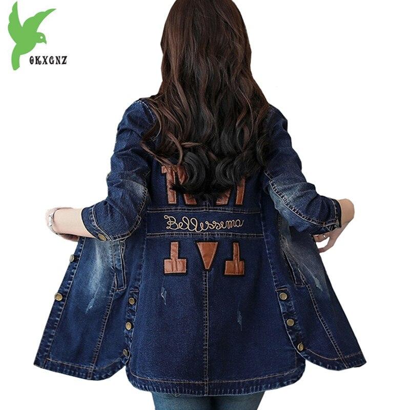 2018 Boutique Spring Autumn Women Denim   Trench   Coat Fashion Students Cowboy Outerwear Slim Windbreaker Medium length OKXGNZ 1644