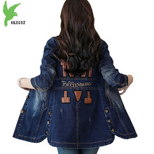 2018 Boutique Spring Autumn Women Denim Trench Coat Fashion Students Cowboy Oute