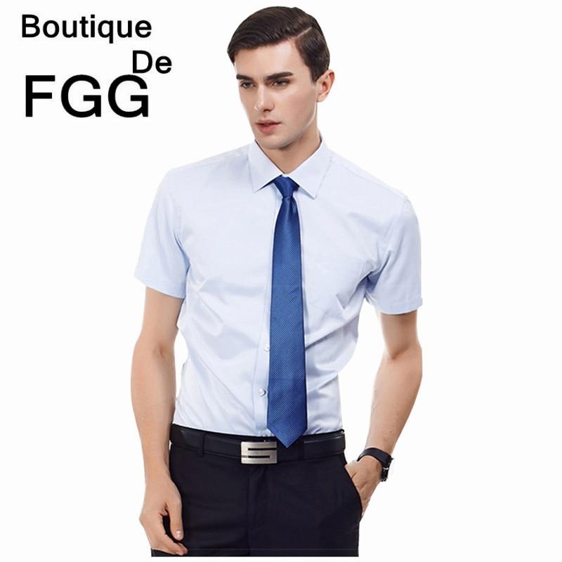 bbc75d94daa Super Size M-6XL Summer Wrinkle Free Men Striped Light Blue Formal Business Shirts  Short Sleeves Groom Wedding Dress Shirts
