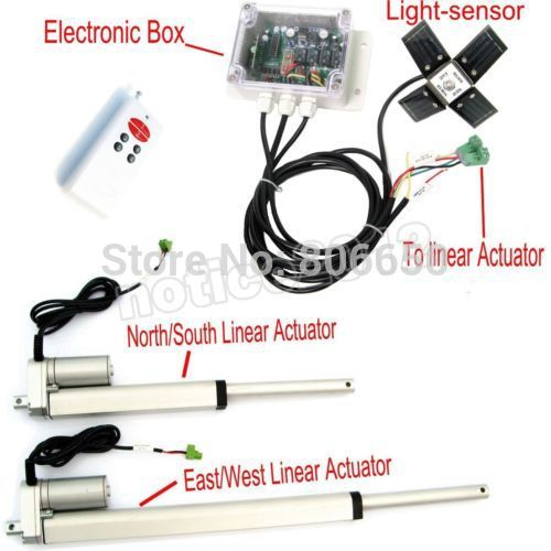 USA /AU stock Dual Axis  6'' 12'' Linear Actuator & solar controller * complete kit sunlight  tracking system free shipping au eu usa stock complete kit 600w solar panel cells off grid system 600w solar system for home free shipping