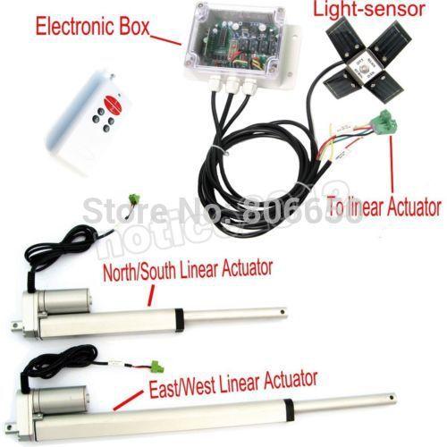 USA/AU stock double axe 6 ''12'' actionneur linéaire et contrôleur solaire * kit complet système de suivi de la lumière du soleil livraison gratuite