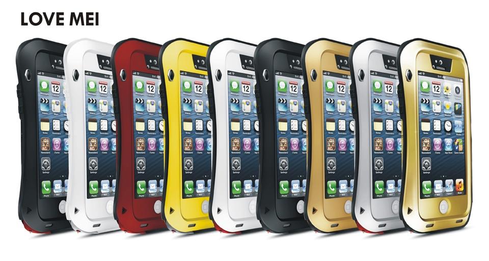 imágenes para Amor mei Potente Pequeña Cintura A Prueba de agua A Prueba de Golpes Cubierta De Aluminio Del Caso Para el iphone de Apple 5S/iphone SE/iPhone 5e + Vidrio templado
