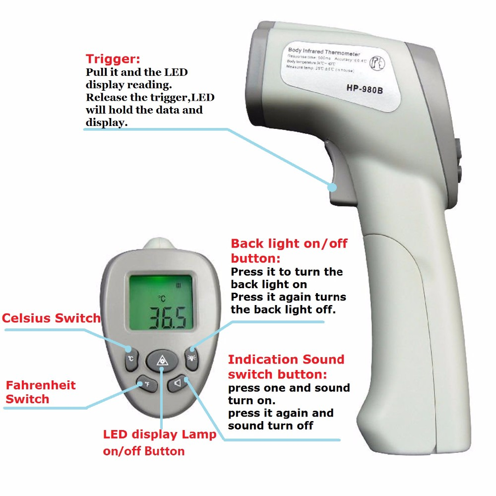 HoldPeak HP-980B Infrared Thermometer Safe Professional Body Digital Thermometers LCD Non Contact for human body Thermometer 100% original af110 professional portable human body infrared thermometer