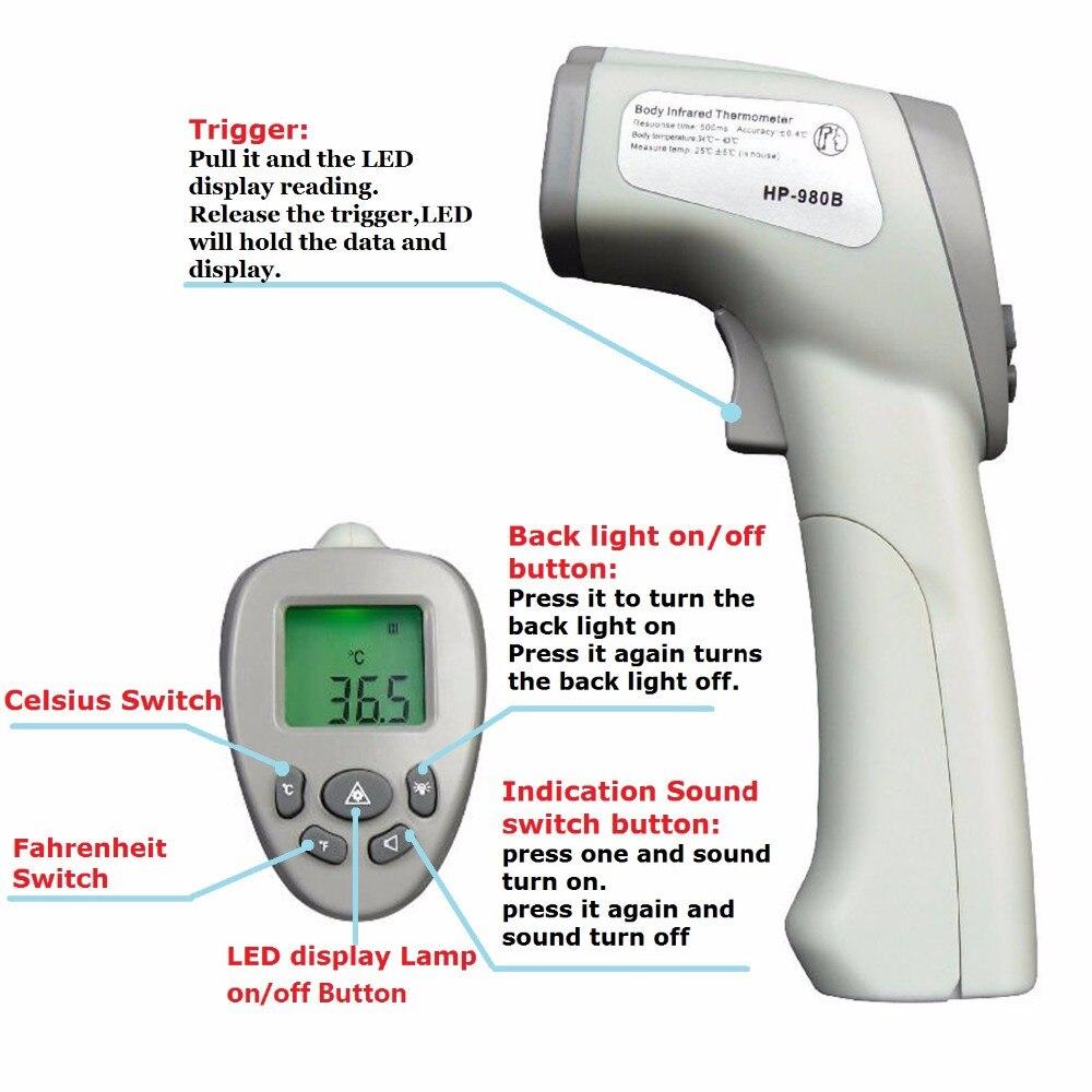 Thermomètre infrarouge HoldPeak HP-980B thermomètres numériques pour le corps professionnel sans Contact LCD pour thermomètre pour le corps humain