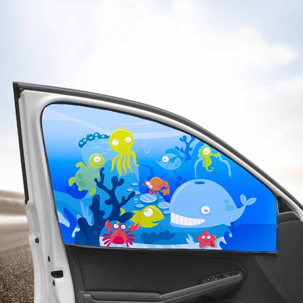 New 1PC Magnetic Car Side Window Sunshade Curtains Auto Windows Sun Visor Animal Pattern Blinds Cover Adjustable Sun Shade
