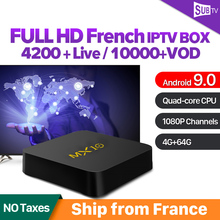IPTV France Arabic MX10 RK3328 USB3.0 Android 9.0 TV Box 4GB 64GB SUBTV IPTV French Belgium Netherlands Portugal Sweden IP TV все цены