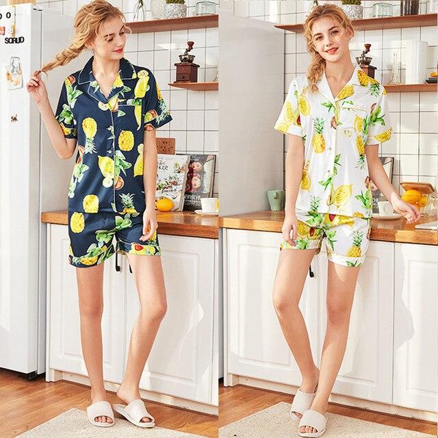 new arrival dc75e 751b8 Roseheart Frühling Weiße Frauen Schlaf Pyjama Sets Nachtwäsche Gedruckt  Anzüge Nachthemd Faux Silk Plus Größe M L XL 2 stück