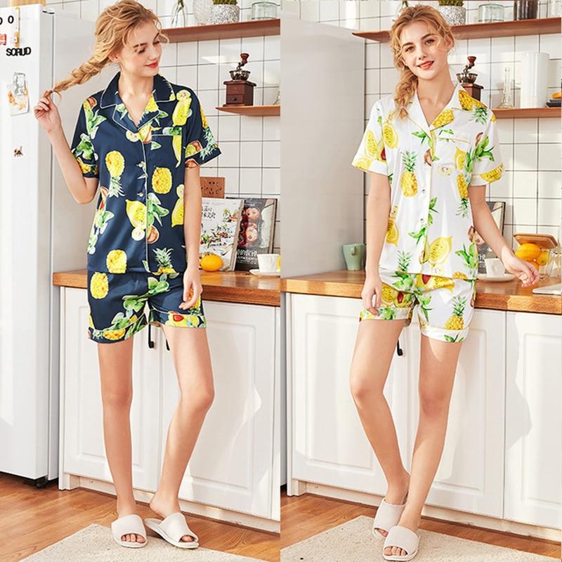 Roseheart Spring White Women Sleep Pajama Sets Sleepwear Printed Suits Nightgown Suits Faux Silk Plus Size M L XL 2 Piece Pajama in Pajama Sets from Underwear Sleepwears