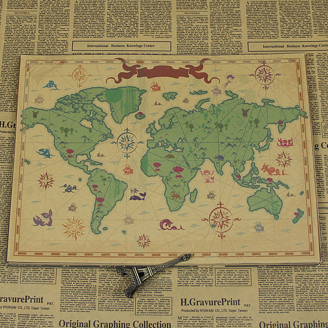 Free ship large vintage world map poster retro kraft paper nostalgic free ship large vintage world map poster retro kraft paper nostalgic living room wall sticker picture gumiabroncs Image collections