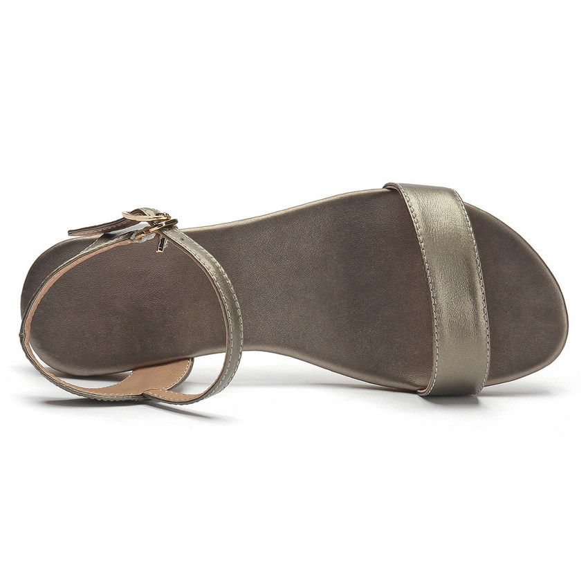 Cuero De Pu Bajo Vaca Casual Tacón Mujeres Sandalias Señoras 34 Mujer Moda Xiangbingse Zapatos 43 oro Tamaño negro 2018 blanco Negro Las Plataforma Hebilla XOqEtw