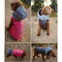 Lovoyager pet clothes pink/gray dog hoodie warm fleece dog vest for small dogs winter dog coat embroidery jacket christmas gift