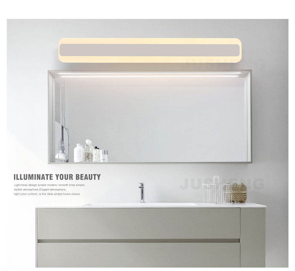 Badezimmerleuchten Modern Jusheng Square Led Bathroom Lights Indoor Top Mirror Led Wall Lamps Acylic Vintage 40cm 50cm Long 100 240v Ac In Led Indoor Wall Lamps From Lights