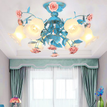 Contemporary French Rustic Rural Blue Metal Leaf Pink Ceramic Rose Flower Modern Home Bedroom Lighting 3 Light Chandelier E27