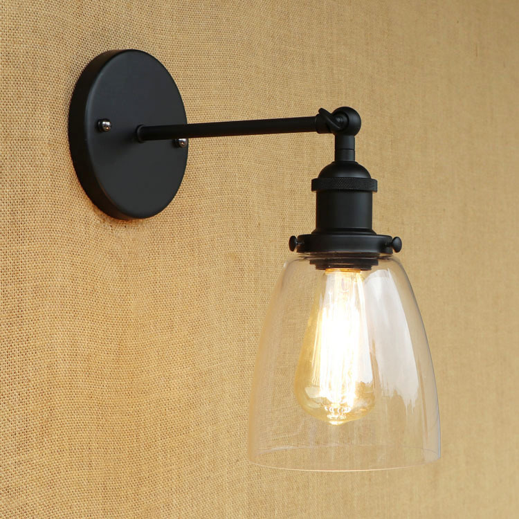 Vintage Industrial Edison Wall Lamps Clear Glass/Acrylic Lampshade Antique Black Wall Lights 110V 220V For Bedroom