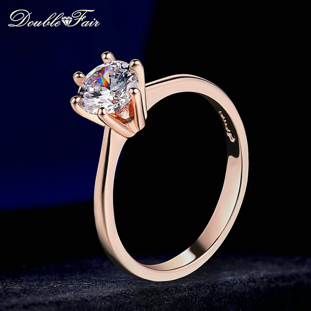 Double Fair 6 Claw 1 Carat Cubic Zirconia Wedding/Engagement rings For Women White/Rose Gold Color Women's Ring Jewelry DFR014(China)