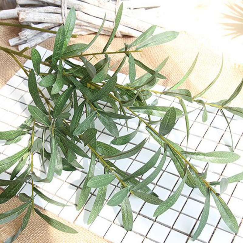 20 Pcs 103 cm Europäischen Olive Blätter für Hotel und Hochzeit Künstliche Pflanzen Olive Äste Blatt Dekoration Zubehör - 5