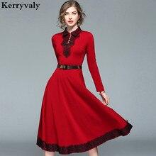 England Long Christmas Red Lace Dress Winter Dresses Women 2019 Long Sleeve Maxi Evening Party Dress Kerst Jurk Ropa Mujer K8925