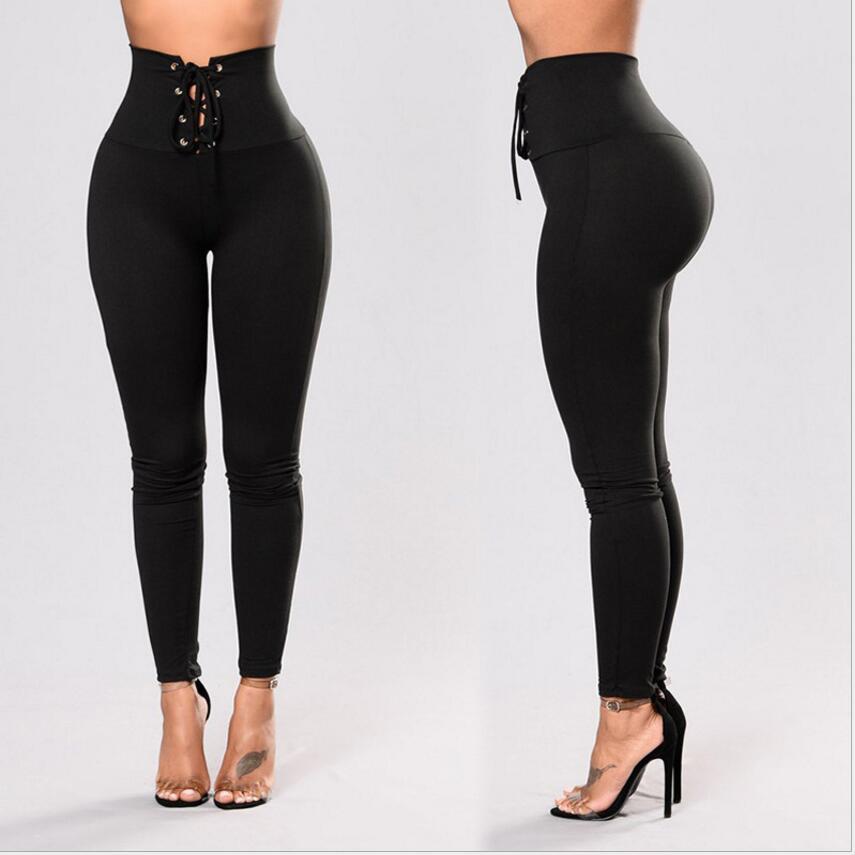 Anti Cellulite Textu Leggings Sexy Women High Waist Lace Up Bandage Leggings Lace Up Wide Waist Fitness Leggin Ladies Show Thin