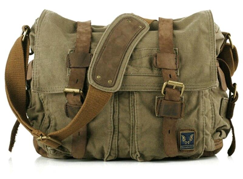 bf3ef65f235d Fashion New 2015 military canvas Leather Men Messenger bag Canvas shoulder  bag for men Crossbody Bag