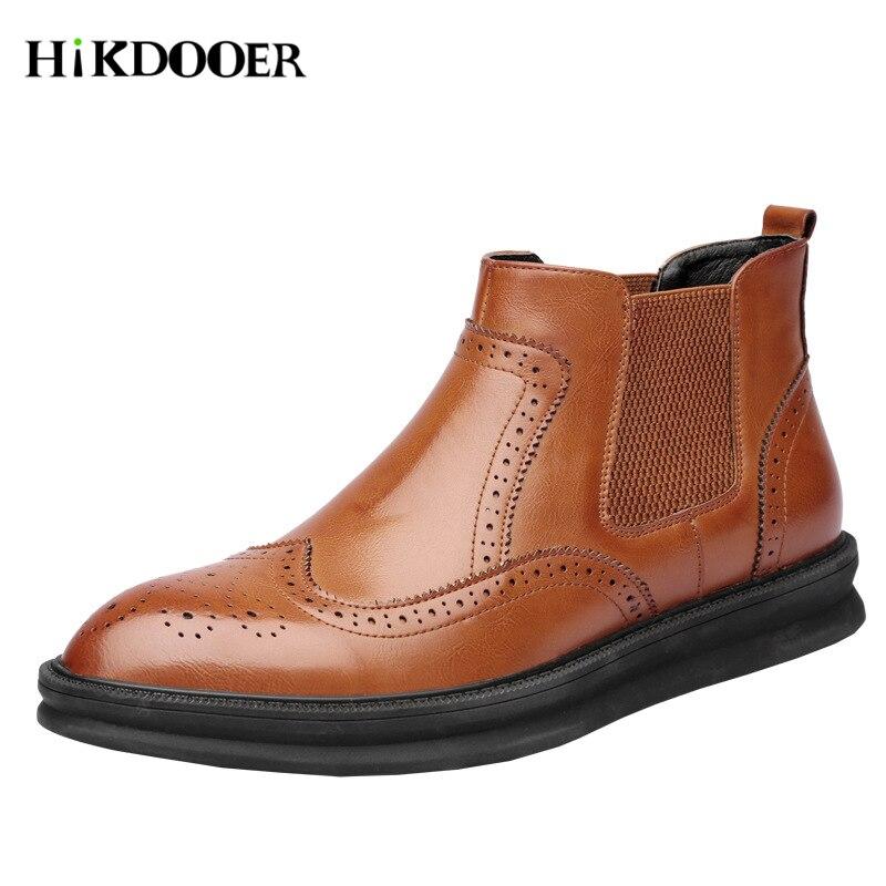 Nouveau Chaussures Bout Cheville 1 Pointu Robe Hommes Style 3 Bottes Chelsea Baroque Véritable 2 bretagne Cuir Grande En YwBRqYrt