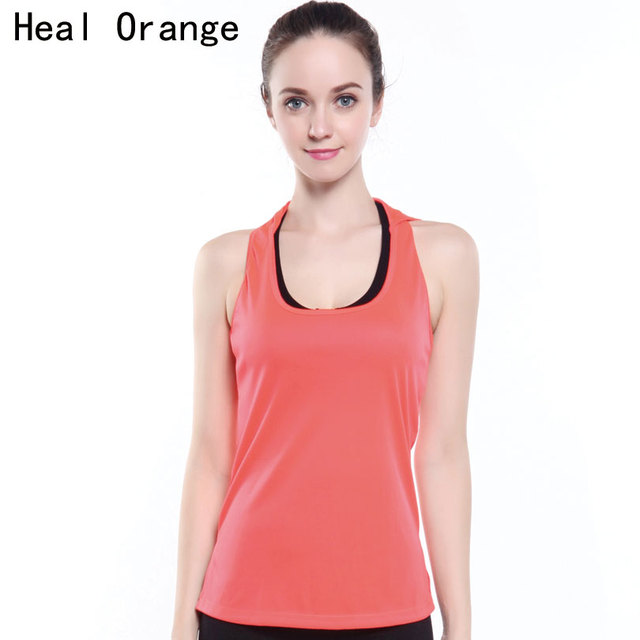 9bc102e854a2d HEAL ORANGE Women Yoga Shirt Hooded Gym Tank Yoga Tops Running Vest Sportswear  Sport Shirt Women Camisa Deportiva Mujer Gym