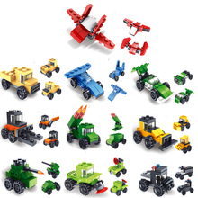 10pcs/lot Small Particle Military Engineering Car Building can assembled into one variable three puzzle DIY assemble Kids toy