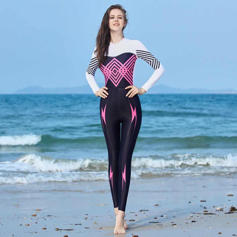 Yeni kadın UPF50 + likra dalış elbisesi cilt dalış sörf Anti-skid dalgıç kıyafeti döküntü Guard kadınlar için tek parça hızlı kuruyan Wetsuit