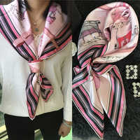 "Horses Prints Fashion 100% Real Silk Scarf Shawl Large Square Silk Head Scarves Hijab Foulard 35"" x 35"""