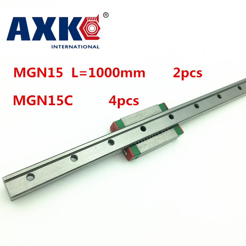 New Arrival Limited Steel Ball Bearing 2pc 15mm Width 1000mm Mgn15 Linear Guide Rail + 4pc Mgn Mgn15c Blocks Carriage or MGN15H