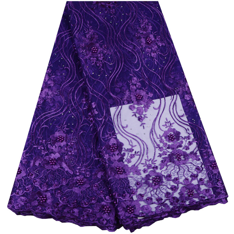 African Cord Lace High Quality Purple French Lace Fabric With Stones 2018 African Tulle Net Lace